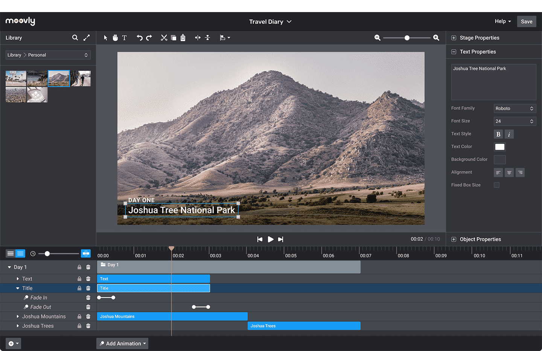 Moovly editing interface