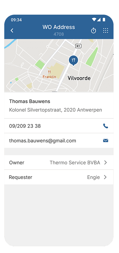 Odyssee mobile screen - Address