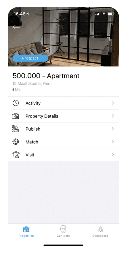 SweepBright app - Property detail