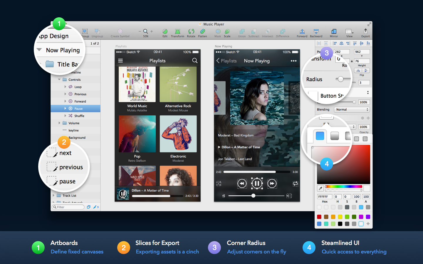 Screenshot displaying Sketch app interface.