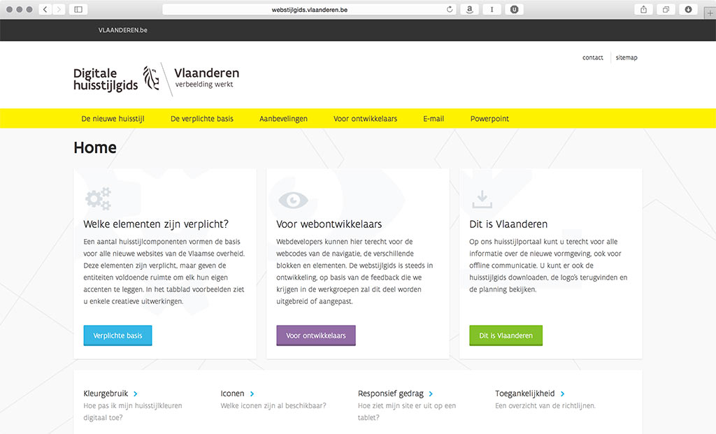 Image of brand guidelines for Vlaanderen.