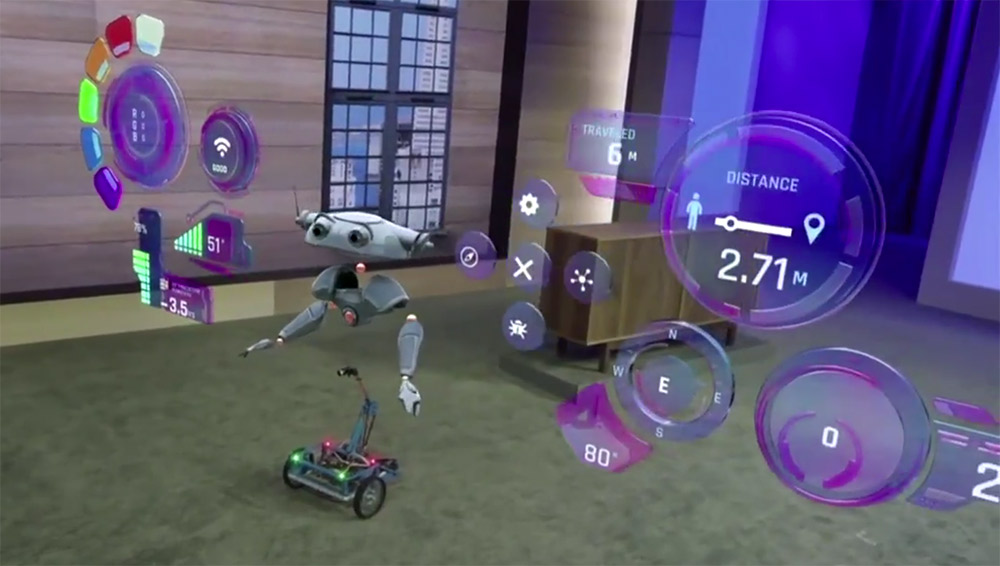 Microsoft HoloLens showing a 3D rendered robot and user interface in augmented reality.