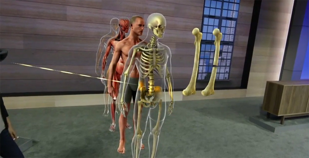 Microsoft HoloLens showing a 3D extrusion of a human body in augmented reality.